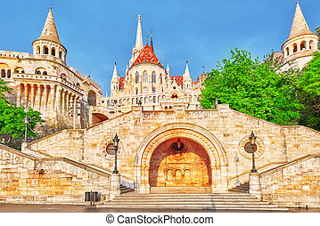 View on the Old Fishermen Bastion in Budapest at morning...