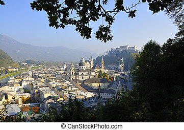 View on the old town of Salzburg in Austria
