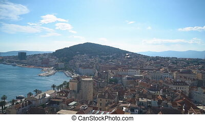 View on the old town of Split and Marjan park.