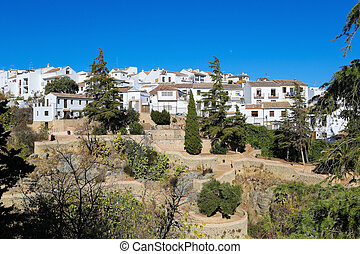 View on the old white houses of Ronda, Spain