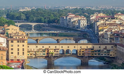 View on The Ponte Vecchio early morning timelapse, a...