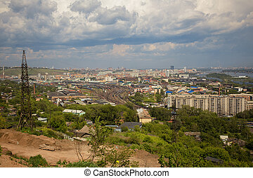 View on the railway and the city of Krasnoyarsk - View from ...
