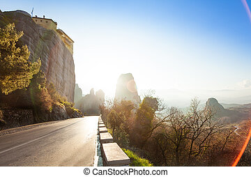 View on the road under Monastery of Rousanou