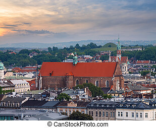 View on the roofs and the church in Krakow.