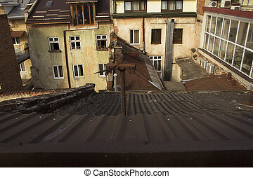 View on the roofs of the houses in Lviv