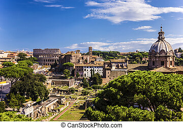 View on the Santi Luca e Martina and Colosseum from Vittoriano