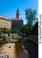 View on the Schwarzenberg castle in Cesky Krumlov / Krumau -...