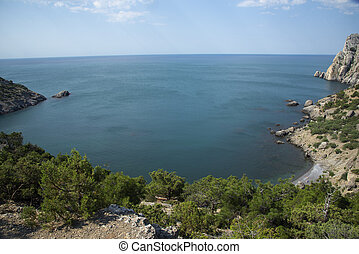 View on the sea coast. Black sea, Novy Svet village, Crimea