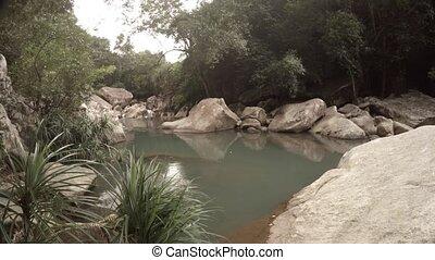 View on the small river near Nha Trang, Vietnam. UltraHD 4k video