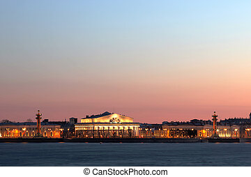 View on the spit of Vasilievsky Island in St. Petersburg, Russia, Europe.