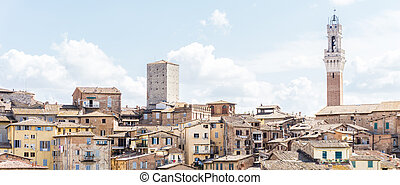 View on the tower of town-hall in italian Siena