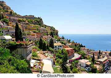 view on town Taormina from Castelmola, Sicily, Italy