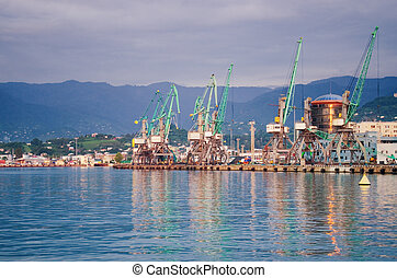 View on trading seaport with cranes