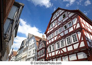 view on traditional German homes in Marburg
