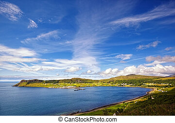 view on Uig harbour and village, Isle of Skye, Scotland