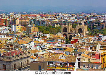 View on Valencia city from a tower.
