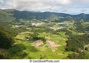view on village in mountains in Azores