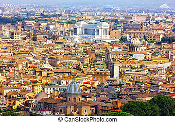 View on Vittoriano and old Roman buildings from Villa Borghese