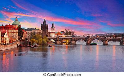 Prague at sunset