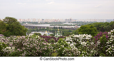 View on Vydubitsky monastery and left bank of the Dnieper. Kiev, Ukraine