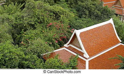 View on Wat Saket Golden Mount from the top . Tree with big...