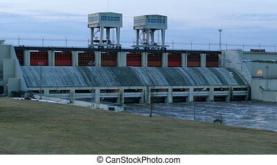 Hydroelectric power station - View on working Hydroelectric...