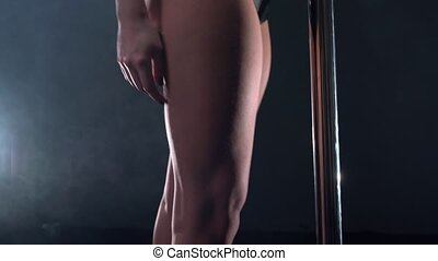View on writhing body of dancing girl, close-up