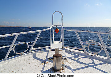 yacht bow floating on sea