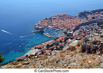 View onto the city walls of Dubrovnik