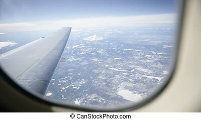 View out airplane window, time lapse