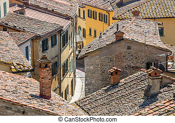 View over a village in Tuscany, Ita