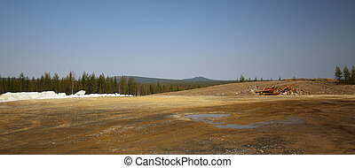 View over abandoned mining area in Lapland
