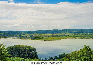view over alpine foothills
