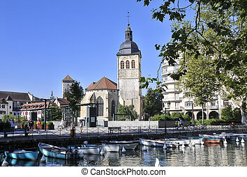 View over Annecy square and church
