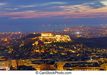 View over Athens at dawn - View over Athens from Mount...
