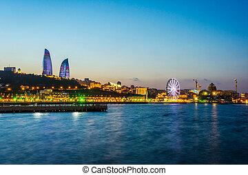 View over Baku with Flame Towers, Azerbaijan - View over ...