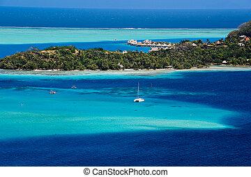 Bora Bora - View over beautiful turquoise lagoon of...