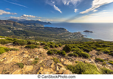 View over Cap Corse from Col de la Serra on northern tip of ...