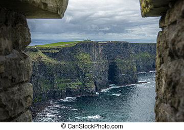 Cliffs of Moher - View over Cliffs of Moher on a overcast,...