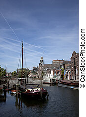 view over delfshaven nearby rotterdam