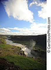 View over Dettifoss waterfall