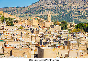 View over Fez, Morocco - View over Fez skyline, yellow city,...