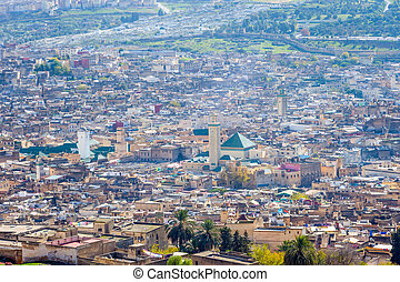 View over Fez, Morocco - View over Fez skyline, known as...
