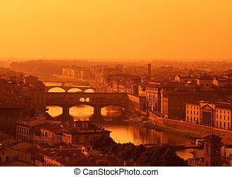 View over Florence at sunset.