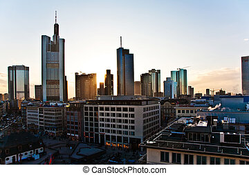 view over Frankfurt, silhouettes of sky scrapers - sunset ...