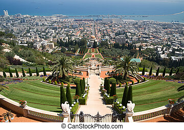 View over Haifa and the temple of Bahai
