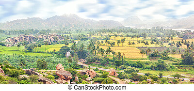 View over Hampi ancient hindu city