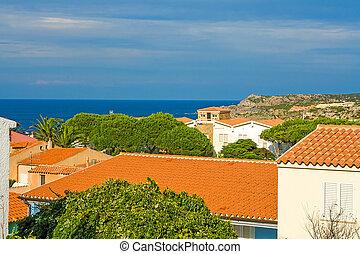 view over houses, sardinia