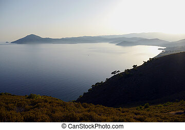 view over island of lesvos in greece