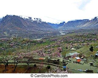 view over Karimabad in prestine Hunza Valley, Karakoram Highway, Pakistan